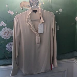 Theory sandy white classic blouse GGT size P